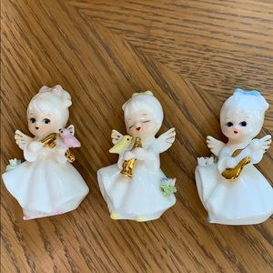 Beautiful set of 3 vintage bone china angels